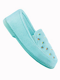 MoonBeams® Embroidered Microterry Slippers