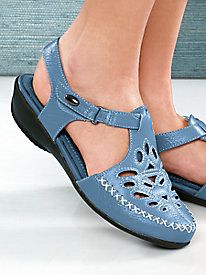 Beacon® Leather T-Strap Sandals