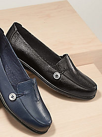 Dr. Scholl's� Side Button Leather Loafers