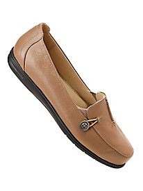 Dr. Scholl's® Side Button Leather Loafers