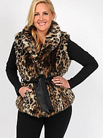 Excelled Women's Belted Faux Fur Vest