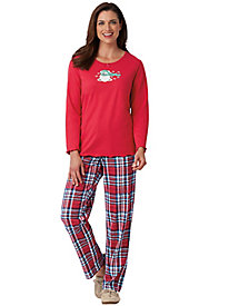 Embroidered Plaid Pajamas