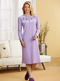 MoonBeams� Lace-Trimmed Embroidered Nightgown
