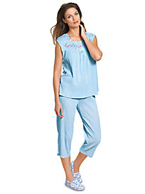 MoonBeams� Embroidered Capri Pajamas