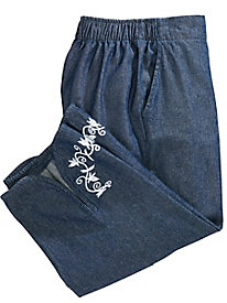 Embroidered Hem Capris