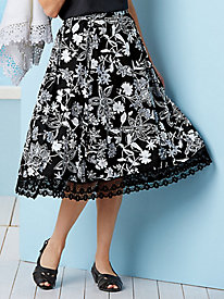 Floral Flair Lace-Trimmed Skirt