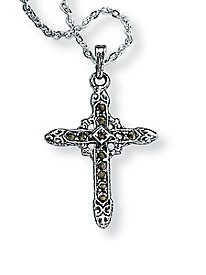 Black Genuine Marcasite Silvertone Antique-Finish Religious Cross Pendant and Chain