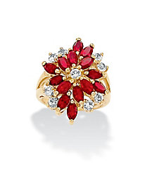 Marquise-Cut Red Crystal Flower Cocktail Ring