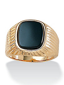Men's Genuine Onyx Ribbed Ring