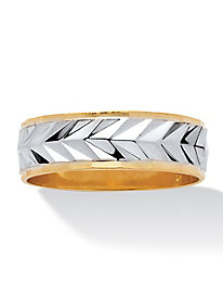 Men's Two-Tone Textured Wedding Band
