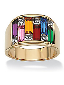 Multi-Colored Crystal Baguette Ring