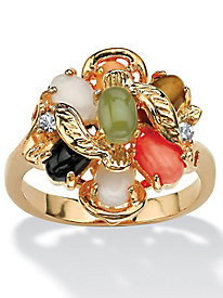 Oval-Shaped Coral, Opal, Jade, Onyx and Tiger's-Eye Cluster Ring