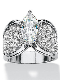 Marquise-Cut and Pave Cubic Zirconia Engagement/Anniversary Ring Platinum-Plated