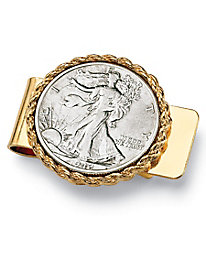 Men's Commemorative Genuine Half Dollar Money Clip in Yellow gold tone