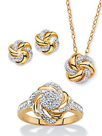 Pavé-Style Love Knots 3-Piece Set
