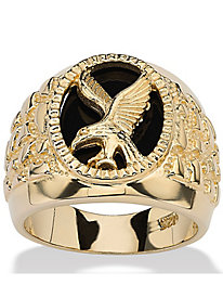 Men's Genuine Onyx Eagle Nugget-Style Ring