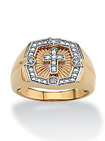 Men's Diamond Cross Ring