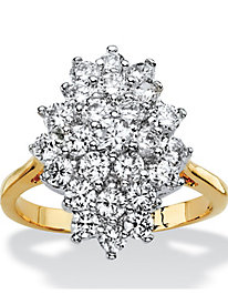 Round CZ Marquise-Shaped Cluster Cocktail Ring