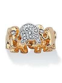 Lucky Elephant Diamond Accent Ring