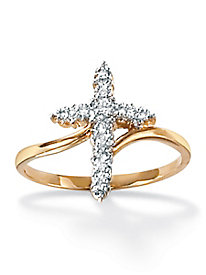 Diamond Accent Cross Ring 18k Gold over Sterling