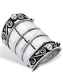 Antiqued Sterling Silver Wide Ring