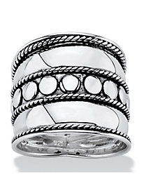 Bali Antiqued Silver Wide Band
