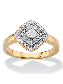 1/10 TCW Pave Diamond Square Ring