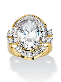 14k Gold-Plated Oval-Cut Cubic Zirconia Vintage-Style Cocktail Ring