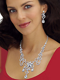 White Crystal Swirl and Flower Crystal Jewelry Set