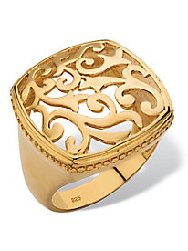 Gold Squared Filigree Ring