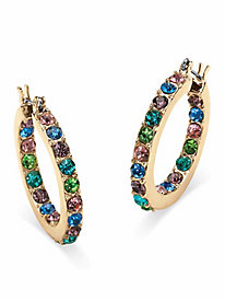 Multicolor Crystal Inside-Out Hoop Earrings