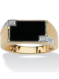 Men's Rectangular-Shaped Genuine Onyx Ring