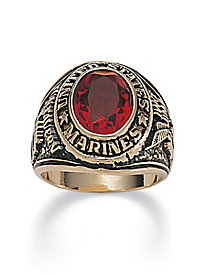 Men's Oval-Cut Simulated Ruby Marines Ring