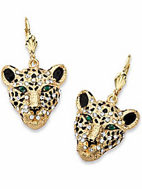 White Crystal Leopard Drop Earrings