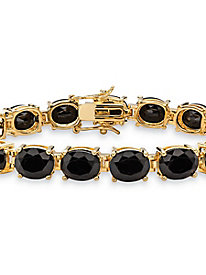 Oval-Cut Genuine Black Onyx Tennis Bracelet