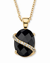 Oval-Cut Genuine Black Onyx Pendant Necklace