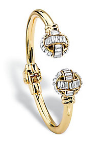 Goldtone Baguette-Cut Crystal Ball Hinged Cuff Bracelet