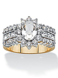 Oval-Cut Crystal Triple Row Halo Cocktail Ring