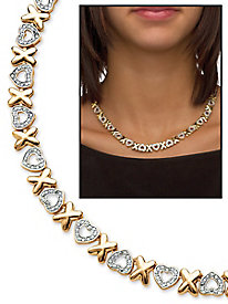 Diamond Accent Hearts and Kisses Necklace