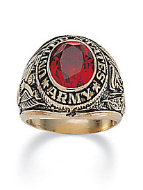 Men's Oval-Cut Simulated Ruby Army Ring