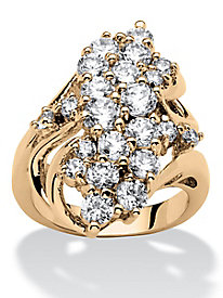 Cubic Zirconia Cluster Wave Ring Gold