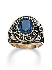 Men's Oval-Cut Simulated Sapphire Navy Ring