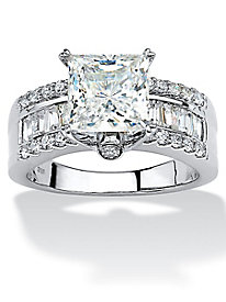 Princess-Cut Cubic Zirconia Engagement Ring