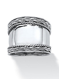 Cigar Band-Style Ring with Braided Accent