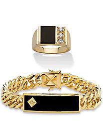 Men's Onyx Bracelet and Ring Set 8 135980