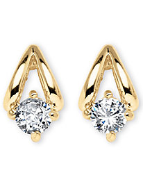.80 TCW Cubic Zirconia Gold Tone Earrings