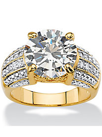 6.40 TCW Cubic Zirconia 14k Gold-Plated Ring