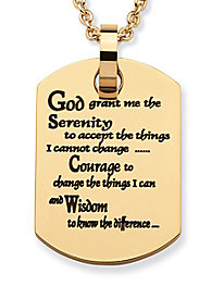 Serenity Prayer Dog Tag Pendant - Gold Plated