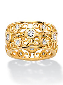 Gold Round Cubic Zirconia Scrolling Eternity Ring