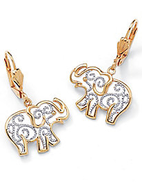 Filigree Elephant Drop Earrings